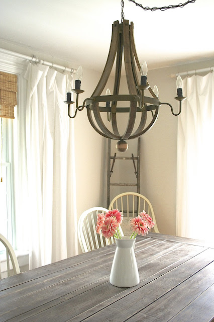 Farmhouse Table and Restoration Hardware chandelier knock-off  -  Budget Living Room / Dining Room Makeover Reveal! - Nest of Bliss
