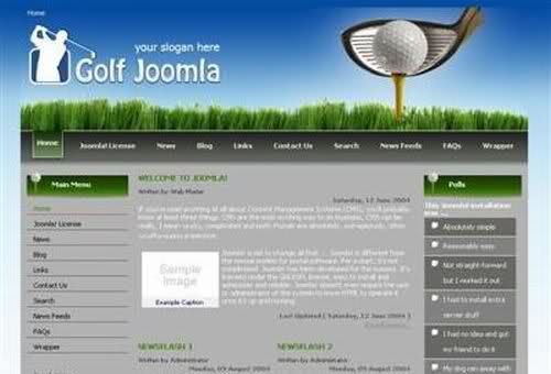 Free joomla golf club web20 theme template maxwellsz