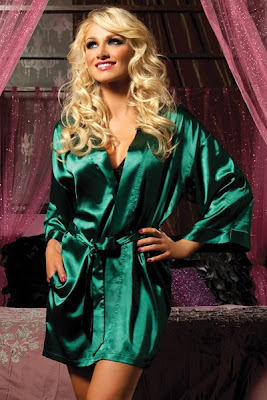 GREEN SATIN MID THIGH LENGTH ROBE