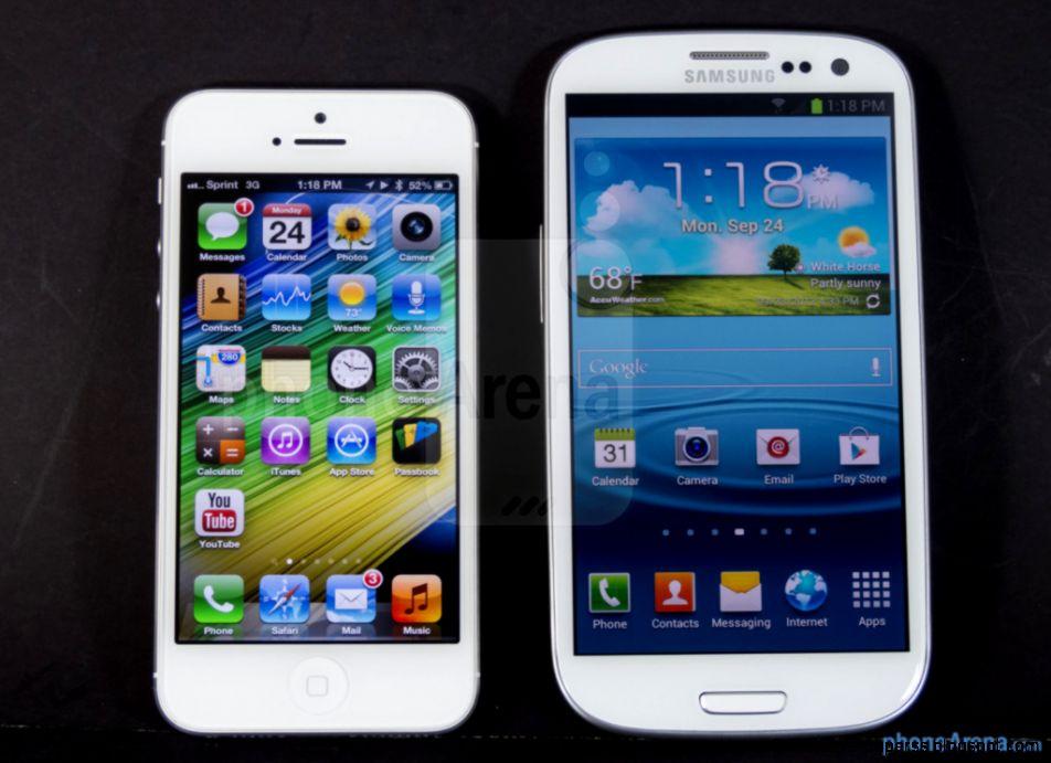 Apple Iphone 5 Vs Samsung Galaxy Wallpaper Hd High Definitions