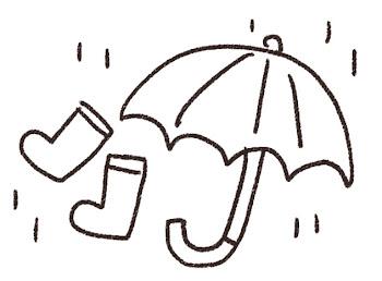 雨のイラスト「傘と長靴」線画