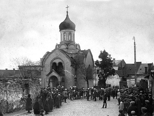 Opoczno, cerkiew św. Księcia Włodzimierza. Okres międzywojenny. Fotografia ze zbiorów Muzeum Regionalnego w Opocznie zamieszczona w albumie