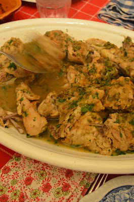 amour fou(d): braised chicken with capers and parsley.