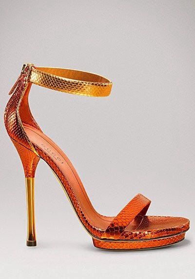 Gucci, Orange Gucci Python Sandals, Orange Sandals