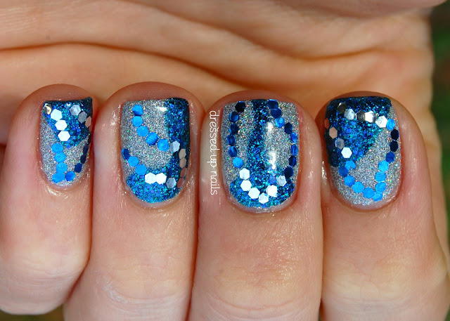 New Year's Eve nails - wavy blue & silver with China Glaze Glistening Snow and Water You Waiting For