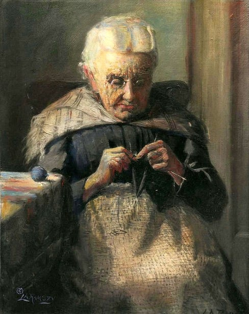 Old Grandma Knitting : It s about time sewing indoors older women
