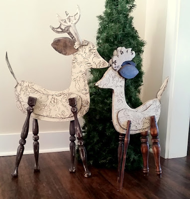 large wood reindeer recycled elements