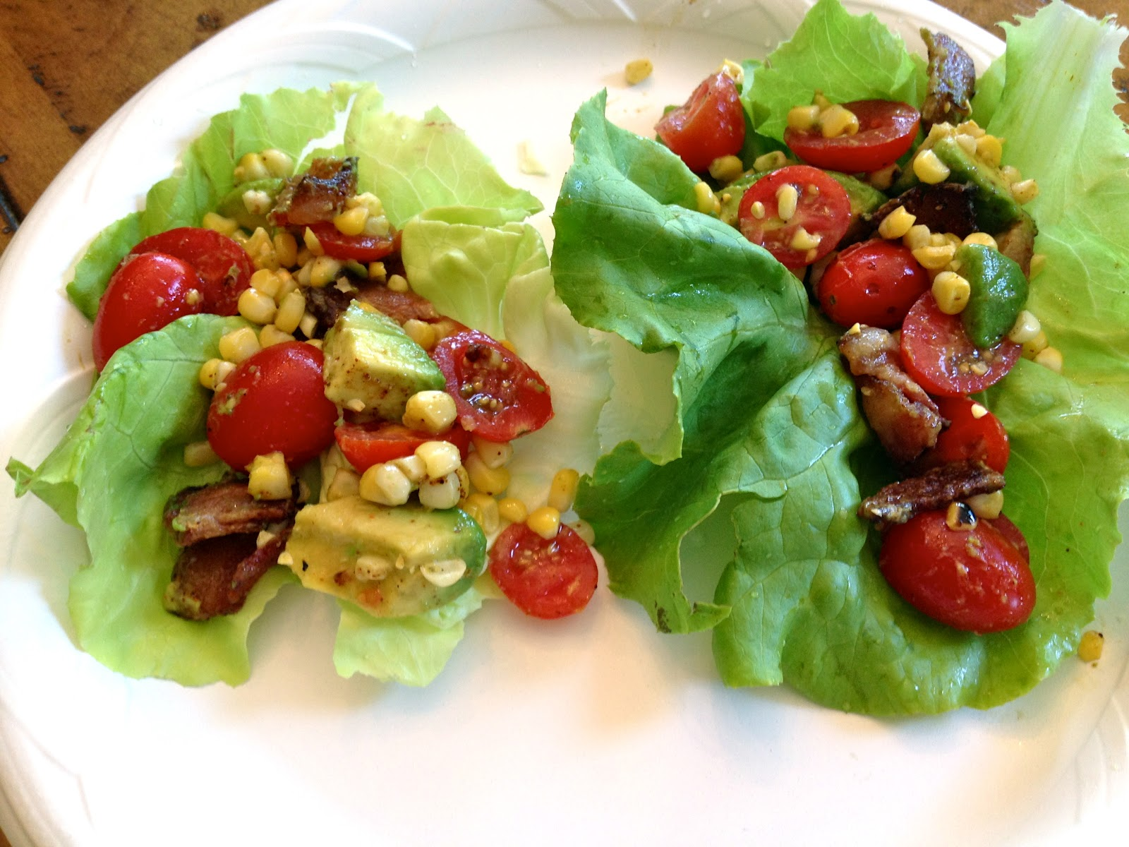 Grilled Corn and BLT Lettuce Wraps for 5, inspired and adapted from ...
