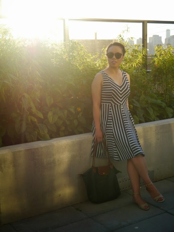 Striped summer sun dress