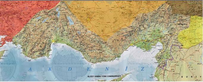 Akdeniz B�lgesi Fiziki Haritas�