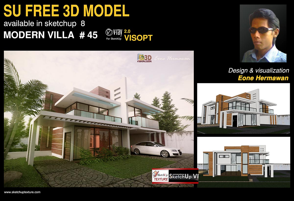 Sketchup texture free sketchup model modern villa 45 and for House rendering software free