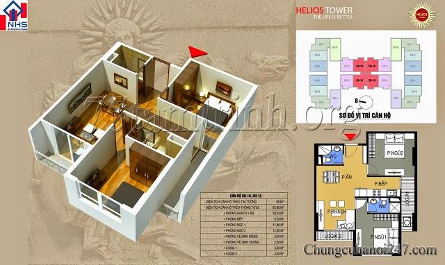 Mặt bằng thiết kế căn hộ 1212A chung cu helios tower 75 tam trinh