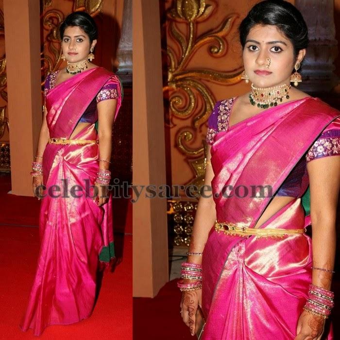 Pink Shimmer Silk Saree