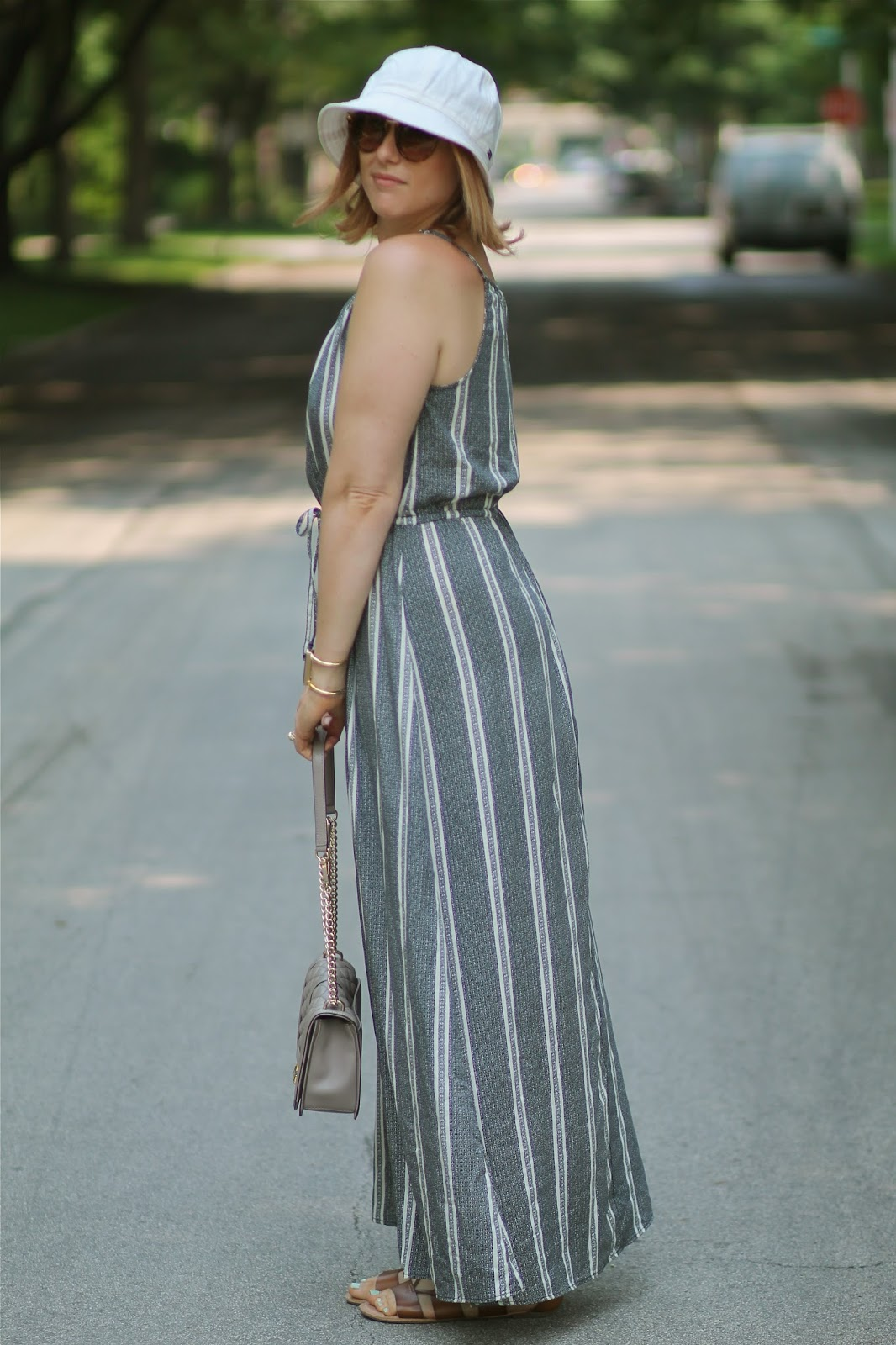 striped, maxi, dress