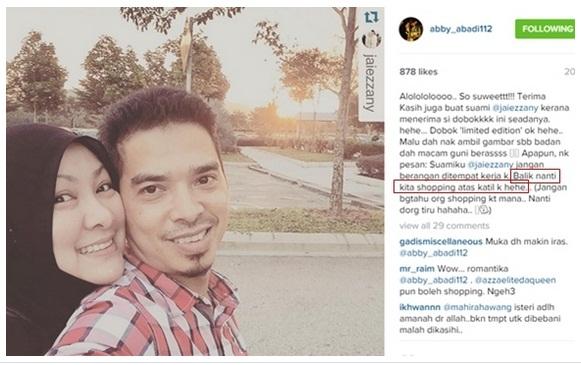 Abby Abadi Hantar Mesej 'LUCAH' Untuk Suami DI Instagram? (3 foto)