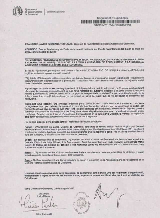 SUPORT DE LES DIPUTACIONS I AJUNTAMENTS CATALANS I BALEARS A LA QUERELLA