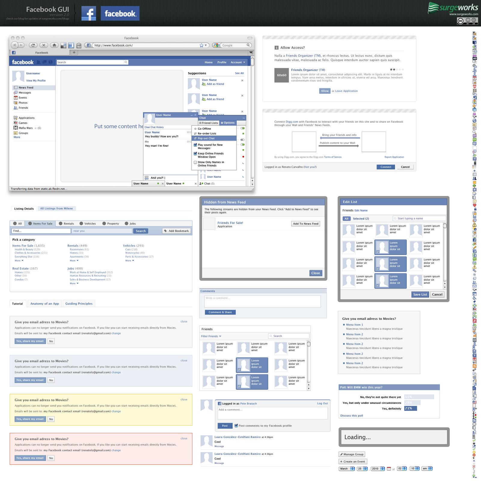 Free Full Layered Facebook GUI PSD Kit