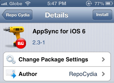 App Sync for iOS 6 on Repo Cydia