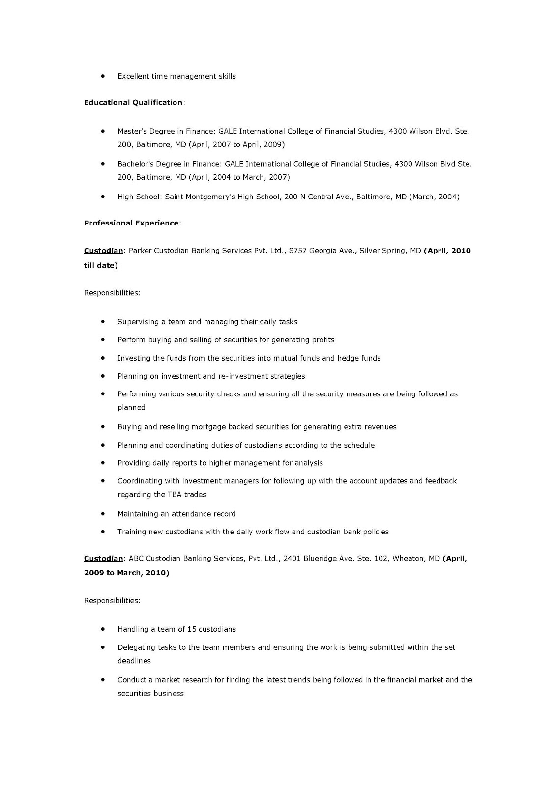 Resume Samples: Custodian Resume