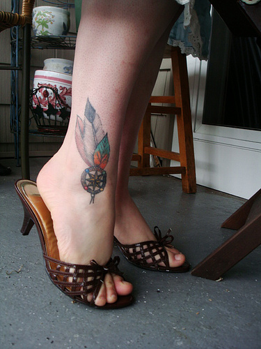 Tribal Leaf Tattoo Design on Ankle