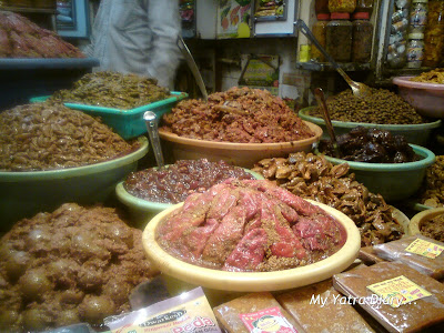 A variety of pickles on display in a shop at Haridwar