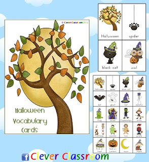 Halloween Vocabulary cards and Chart Clever Classroom