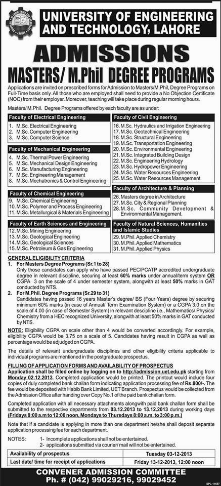 UET Lahore Announced Admissions in Masters and M.Phil Programs