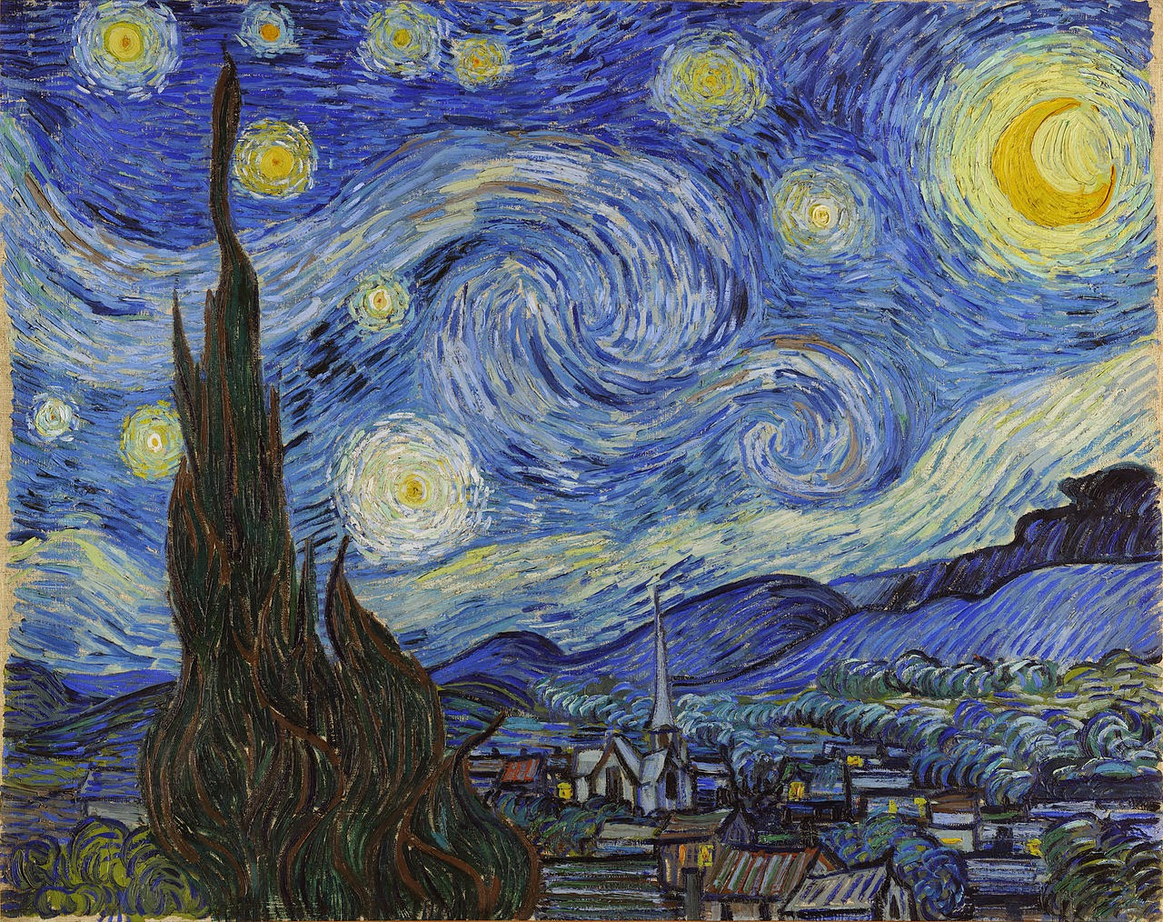Vincent van Gogh, The Starry Night blue swirls sweeping expressive nature