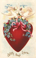 antique valentine postcard post card with heart and doves