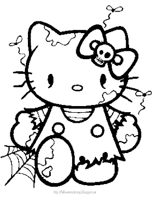 Cute Hello Kitty Halloween Coloring Pages