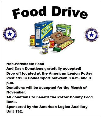 11-1 Thru 11-30 Food Drive Coudersport