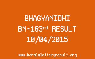 BHAGYANIDHI BN 183 Lottery Result 10-4-2015