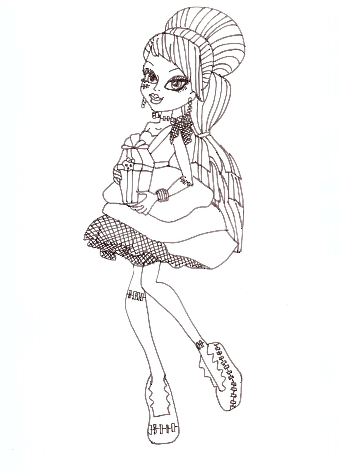 free printable monster high frankie stein sweet 1600 coloring sheet
