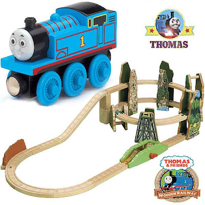 Exciting high speed Race down the Rails Thomas the train wooden railway spiral mountain playset toy