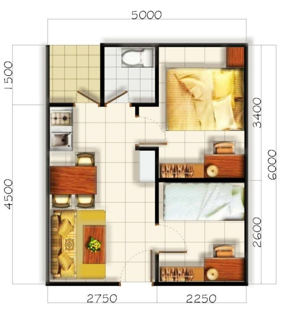desain denah type 36 2 lantai minimalis yang bagus
