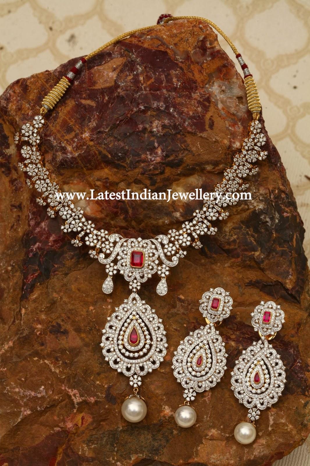 Diamond Ruby Necklace Set