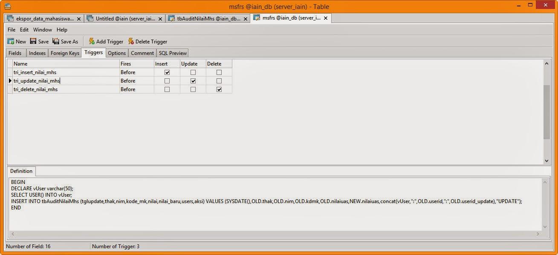 Membuat Trigger Mysql Menggunakan Navicat dan phpMyAdmin