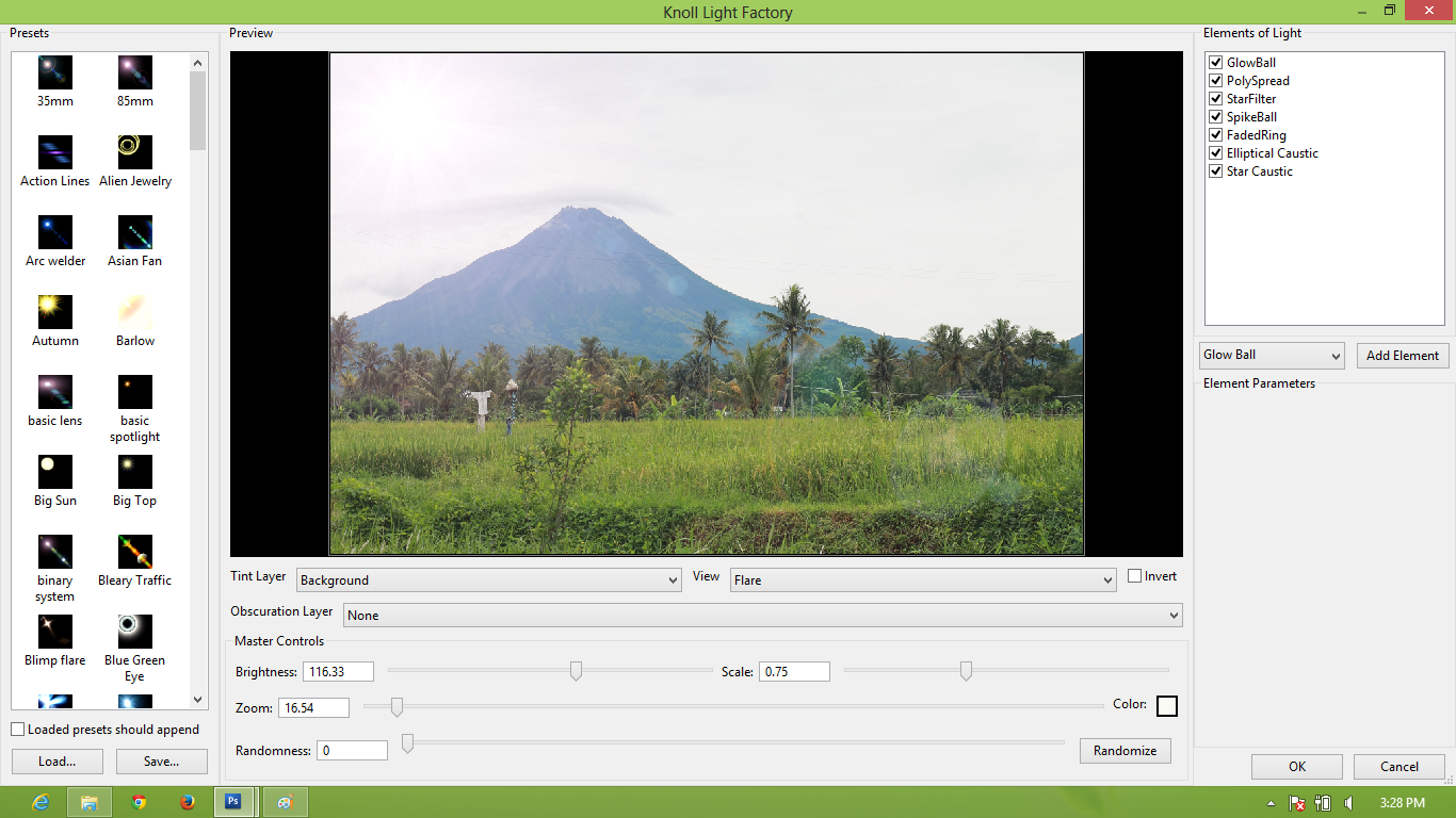 pic cara belajar how to create tutorial photoshop pemula membuat pegunungan cerah merapi ROL ray of light 2