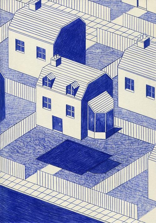 14-Neighbours-Arrival-Kevin-Lucbert-Ballpoint-Biro-Pen-Drawings-www-designstack-co