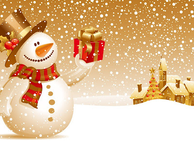 Christmas Snowman Desktop Wallpaper