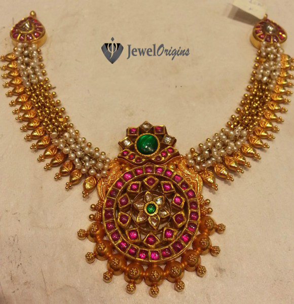 Jewelorigins indian designer gold and diamond jewelleryindian 22 carat gold antique finish pearls necklace with pendant studded with rubies emeralds and polkis aloadofball Image collections