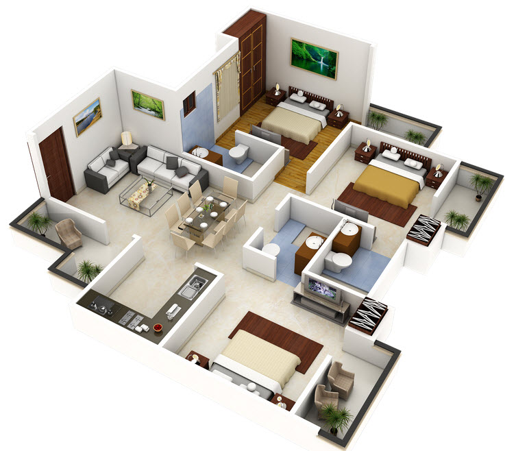 Plano 3d de casa o departamento cuadrado construye hogar - Diseno casa 3d ...