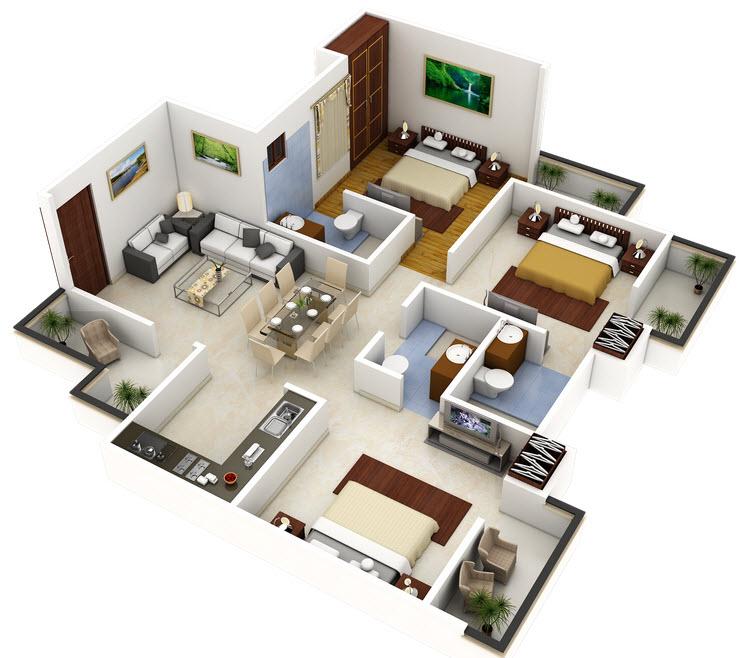 Plano 3d de casa o departamento cuadrado construye hogar for Departamentos minimalistas planos