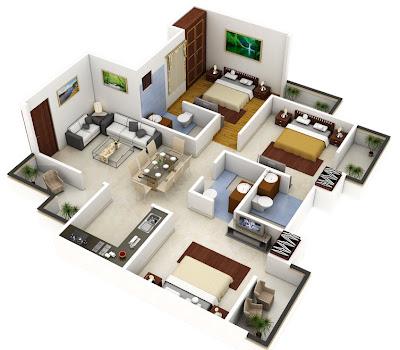 Plano 3D de casa grande de un nivel
