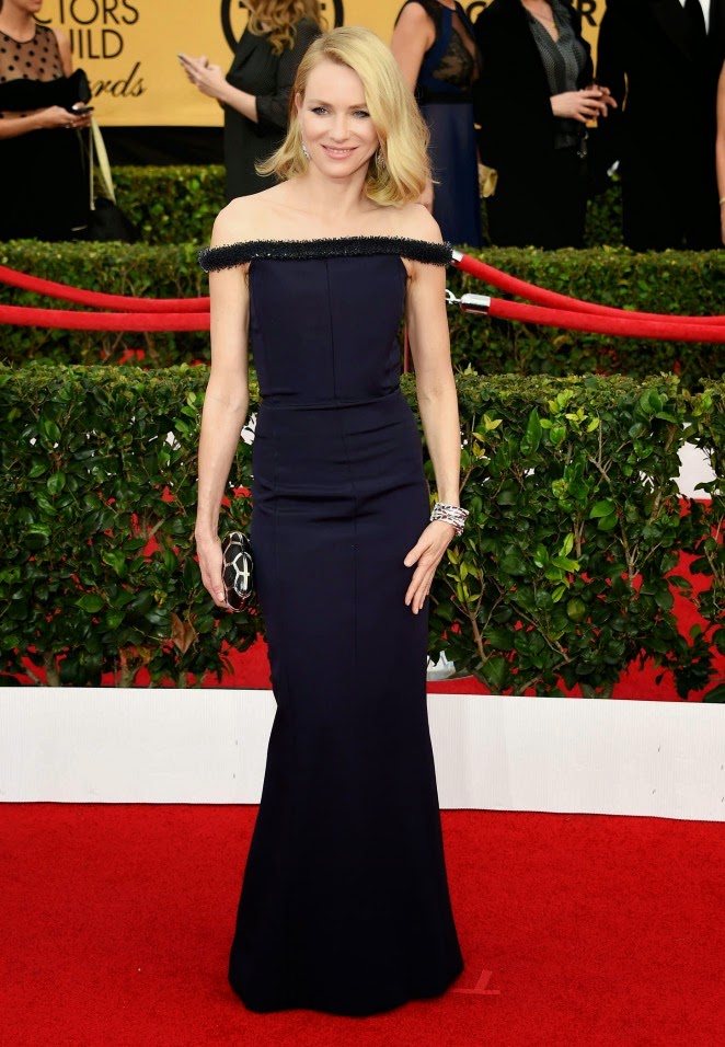Naomi Watts in an off-shoulder Balenciaga gown at the 21st Annual SAG Awards in LA