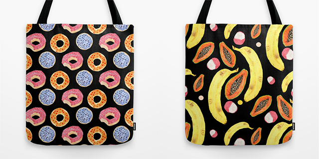 handpainted doughnut pattern tote bag and handpainted tropical fruits tote bag