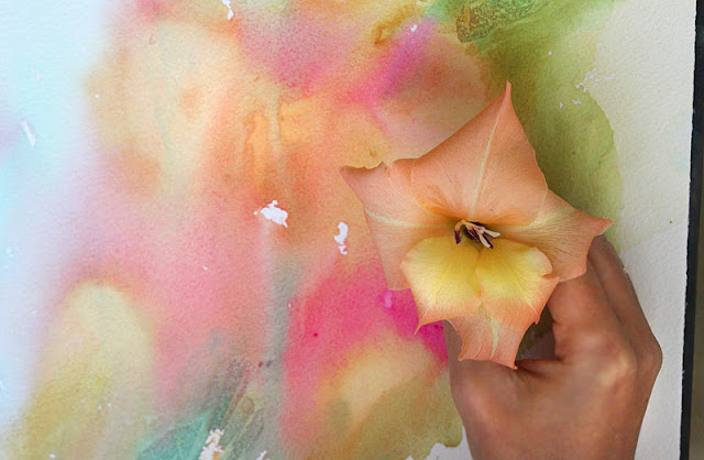 Original watercolor gladiolus painting by Olga Peregood. First wash on a larger format