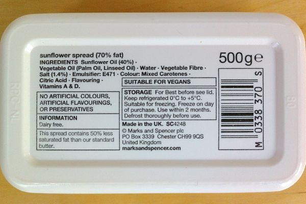 Marks & Spencer Simply M&S Dairy Free Sunflower Spread Vegan Ingredients