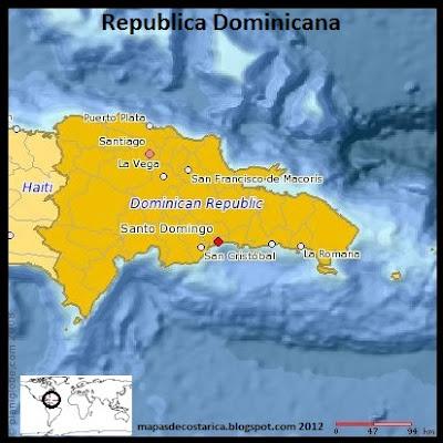 Mapa de Republica Dominicana (planiglobe)