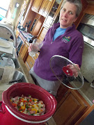 . green chile peppers and such, under Kathy's watchful eye and direction.